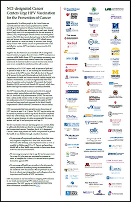 NCI-designated Cancer Centers HPV statement