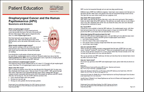Oropharyngeal Cancer and the Human Papillomavirus (HPV): Questions and Answers